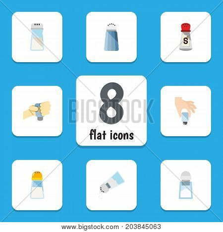Flat Icon Sodium Set Of Salt, Spice, Saltshaker And Other Vector Objects