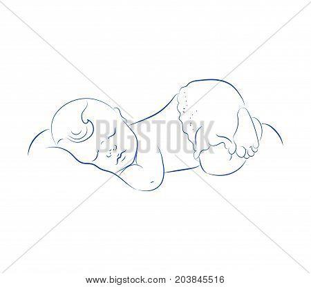 Lovely Newborn Sleeping Vector. Cute Little Sleeping Child. Contour Sketch Hand Drawn. Cute Baby. Small Heart.