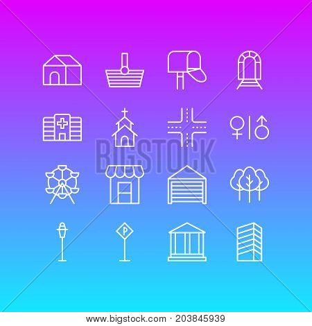 Editable Pack Of Awning, Lamppost, Courthouse And Other Elements.  Vector Illustration Of 16 City Icons.