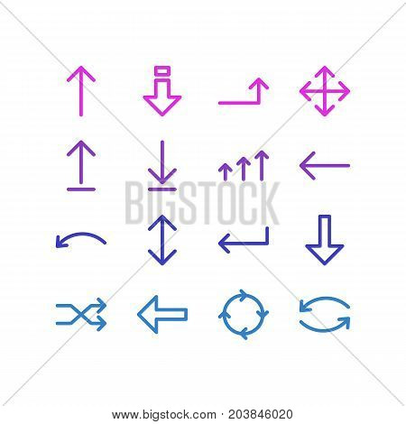 Editable Pack Of Down , Direction, Randomize Elements.  Vector Illustration Of 16 Direction Icons.