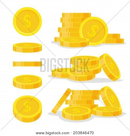Set coins stack vector illustration, icon flat finance heap, dollar coin pile. Golden money standing on stacked, gold piece isolated on white background - flat style.