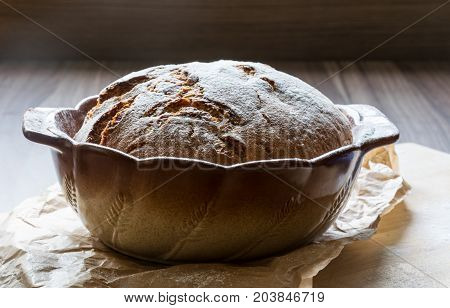Excellent crunchy homemade bread baked in a baking dish