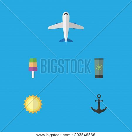 Flat Icon Summer Set Of Aircraft, Sundae, Sunshine And Other Vector Objects