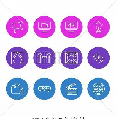 Editable Pack Of Theater, Movie Reel, Television And Other Elements.  Vector Illustration Of 12 Movie Icons.