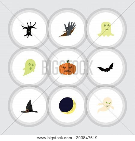 Flat Icon Halloween Set Of Zombie, Pumpkin, Witch Cap And Other Vector Objects