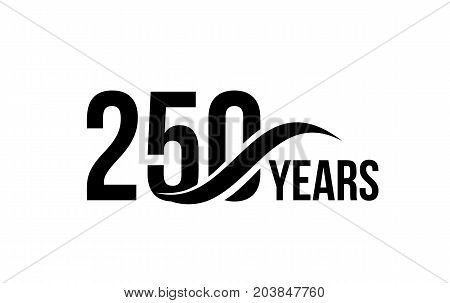 Vector isolated anniversary date logo template for business company birthday icon design element. Two hundred and fifty abstract sign. Happy jubilee, 250 years. 250th year