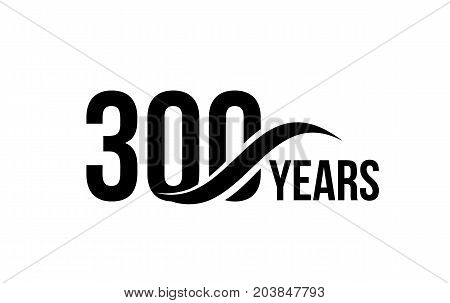 Vector isolated anniversary date logo template for business company birthday icon design element. Three hundred abstract sign. Happy jubilee, 300 years. 300th year