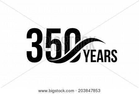 Vector isolated anniversary date logo template for business company birthday icon design element. Three hundred fifty abstract sign. Happy jubilee, 350 years. 350th year