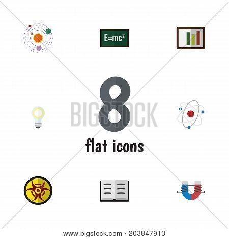 Flat Icon Knowledge Set Of Lightbulb, Theory Of Relativity, Lecture And Other Vector Objects