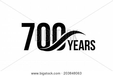 Vector isolated anniversary date logo template for business company birthday icon design element. Seven hundred abstract sign. Happy jubilee, 700 years. 700th year
