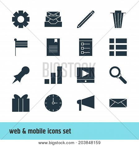 Editable Pack Of Letter, Pen, Bookmark And Other Elements.  Vector Illustration Of 16 Web Icons.