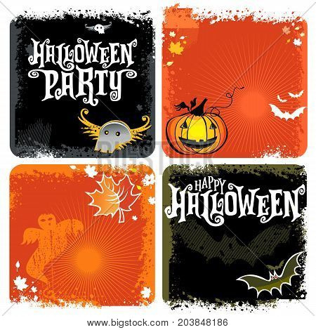 Halloween vector set of backgrounds with Happy Halloween party lettering. Illustration with Pumpkins ghosts skulls bats. Square format grunge pattern banners or invite cards seasonal sale offers