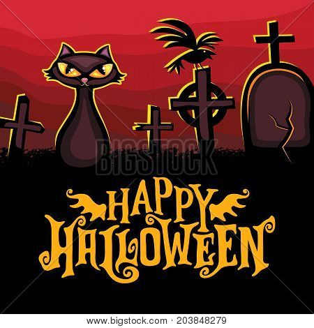 Halloween vector greeting card. Dark graveyard and cat silhouette style with bright eyes on dark red background. Tombstones and graves. Happy Halloween lettering. Banners invite party sale offers