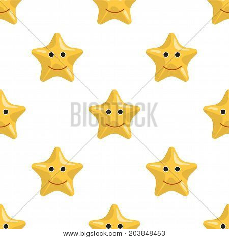 Vector seamless pattern on which are painted the starfish. Childrens cartoon pattern toy starfish isolated on white background