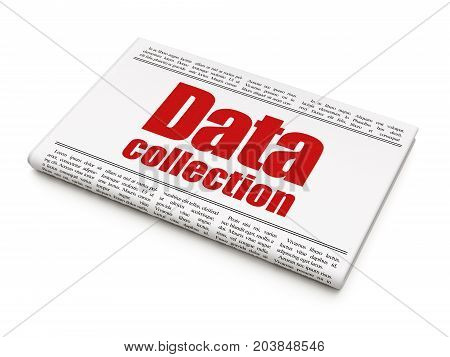 Data concept: newspaper headline Data Collection on White background, 3D rendering