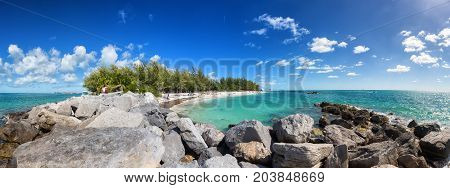Public beach panorama in Fort Zachary Taylor State Park, Key West, Florida Keys
