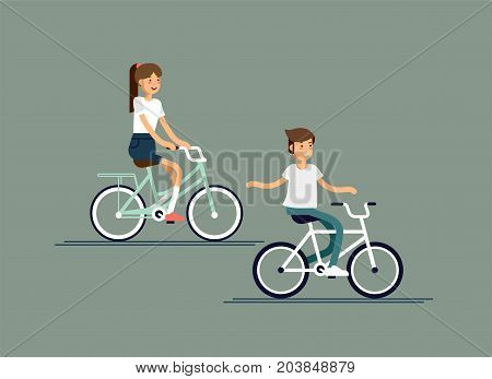 Children having fun riding bicycles. Kids having free time on weekend. Summer break outdoor recreation for kids. Happy boy and girl riding bike. Vector character design on kids having fun