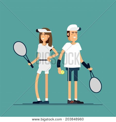 Vector illustration male and female tennis players in sport uniforms. Couple of equipped tennis players in white clothes with tennis racque , ball. Sport recreation.