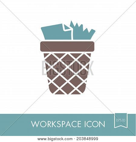 Wastebasket outline icon. Workspace sign. Graph symbol for your web site design logo app UI. Vector illustration EPS10.