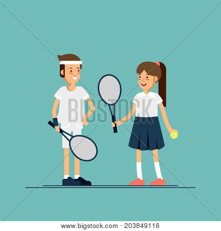 Vector illustration male and female kids tennis players in sport uniforms. Couple of equipped tennis players children in white clothes with tennis racque, ball. Sport recreation.