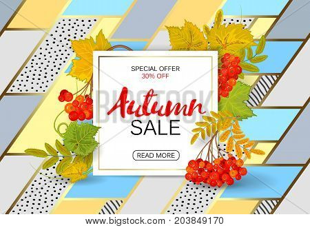 Autumn sale poster with bright colorful leaves, sheet of white paper with lettering. Vector illustration