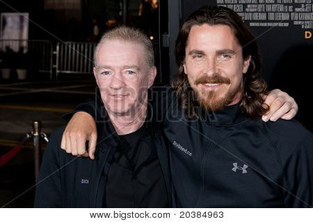 HOLLYWOOD, CA. - DEC 7: Christian Bale (L) and Dicky Eklund (R) arrive at the Los Angeles premiere of The Fighter at Grauman's Chinese Theatre on Dec. 7, 2010 in Hollywood, California.