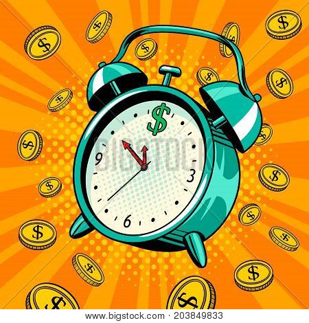 Alarm clock with coins pop art retro vector illustration. Time money metaphor. Comic book style imitation.