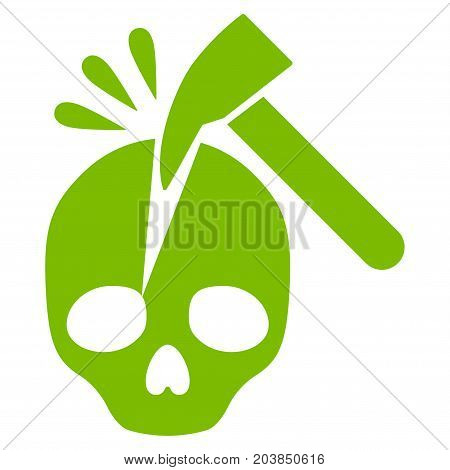 Break Skull vector icon. Flat eco green symbol. Pictogram is isolated on a white background. Designed for web and software interfaces.