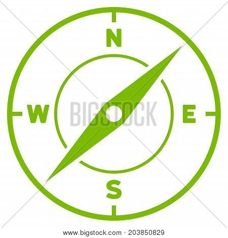 Compass vector icon. Flat eco green symbol. Pictogram is isolated on a white background. Designed for web and software interfaces.