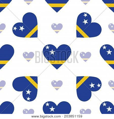 Curacao Flag Patriotic Seamless Pattern. National Flag In The Shape Of Heart. Vector Illustration.