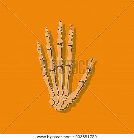 wrist bone paper sticker on stylish background