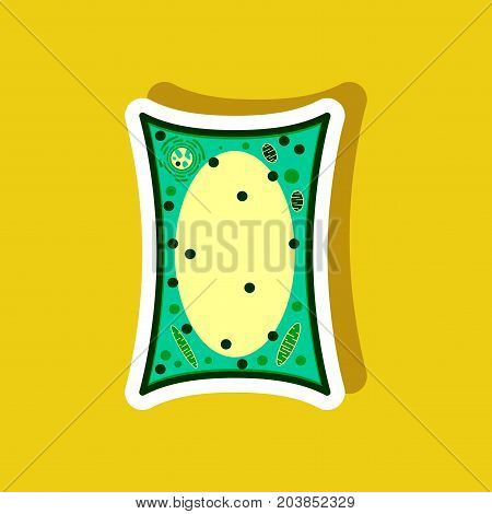 plant cell paper sticker on stylish background