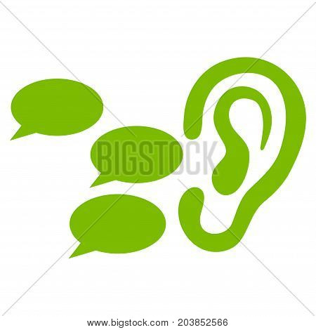 Listen Gossips vector icon. Flat eco green symbol. Pictogram is isolated on a white background. Designed for web and software interfaces.