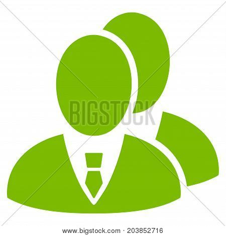 Managers vector icon. Flat eco green symbol. Pictogram is isolated on a white background. Designed for web and software interfaces.