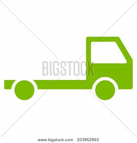 Truck Chassis vector icon. Flat eco green symbol. Pictogram is isolated on a white background. Designed for web and software interfaces.