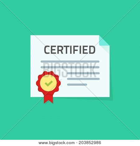 Certificate icon vector illustration, flat style paper document with approved seal or stamp and certified stamp, idea of legal document, quality guarantee confirmation symbol isolated