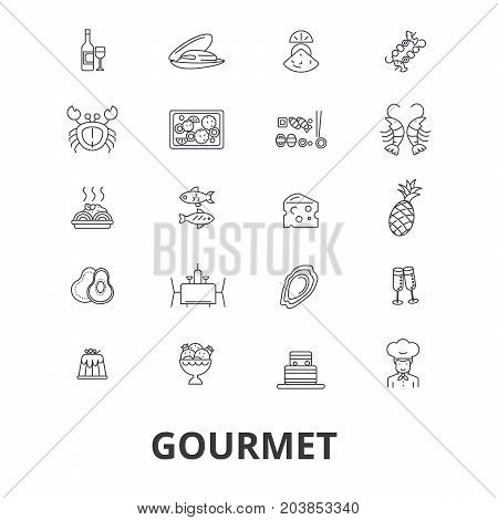 Gourmet, food, chef, restaurant, dinner, wine, cooking, cuisine, kitchen line icons. Editable strokes. Flat design vector illustration symbol concept. Linear signs isolated on background