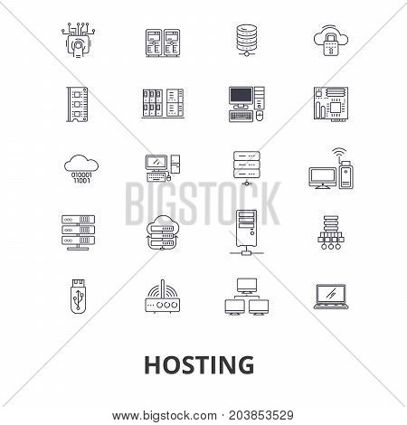 Hosting, hostess, web, server, cloud hosting, domain, computing, interne line icons. Editable strokes. Flat design vector illustration symbol concept. Linear signs isolated on background