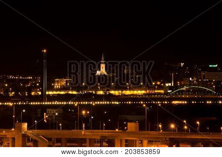 Night scene from Sava river of Belgrade downtown with Serbian orthodox cathedral in the middle, Serbia