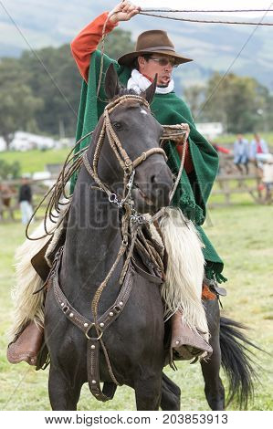 June 3 2017 Machachi Ecuador: Andean cowboy on horseback in motion wearing chaps and poncho handling a lasso