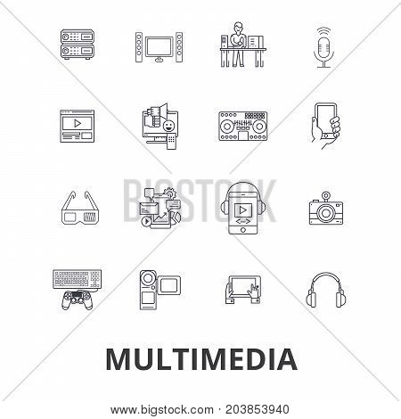 Multimedia, media, video, internet, film, computer, social, entertainment line icons. Editable strokes. Flat design vector illustration symbol concept. Linear signs isolated on background