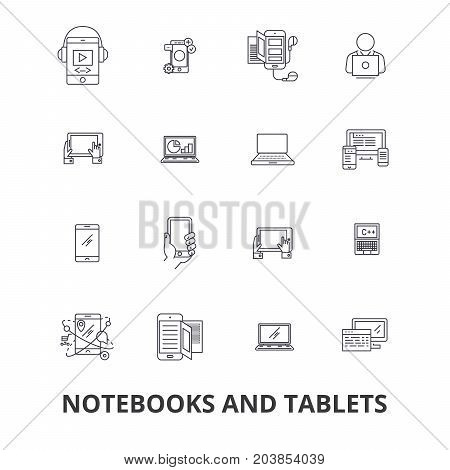 Notebooks and tablets, laptop, screen, notepad, computer, gadget, pc line icons. Editable strokes. Flat design vector illustration symbol concept. Linear signs isolated on background