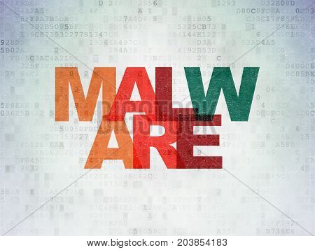 Security concept: Painted multicolor text Malware on Digital Data Paper background