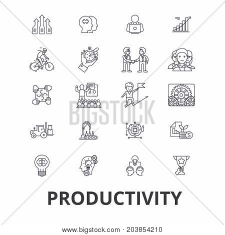 Productivity, efficiency, increase, innovation, business, growth, profit line icons. Editable strokes. Flat design vector illustration symbol concept. Linear signs isolated on background