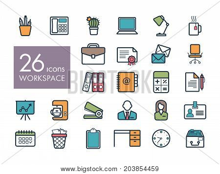 Workspace outline icon. Workspace sign. Graph symbol for your web site design logo app UI. Vector illustration