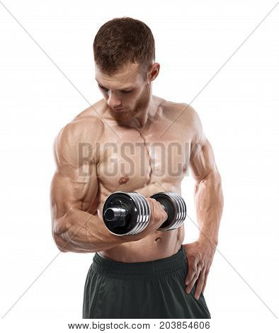 Muscular bodybuilder guy doing exercises with dumbbells isolated on white background