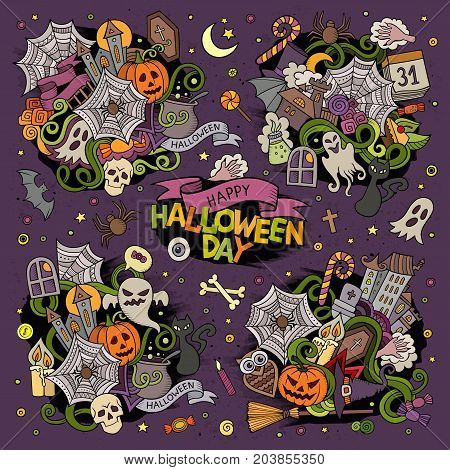 Colorful vector hand drawn Doodle cartoon set of objects and symbols on the Halloween theme