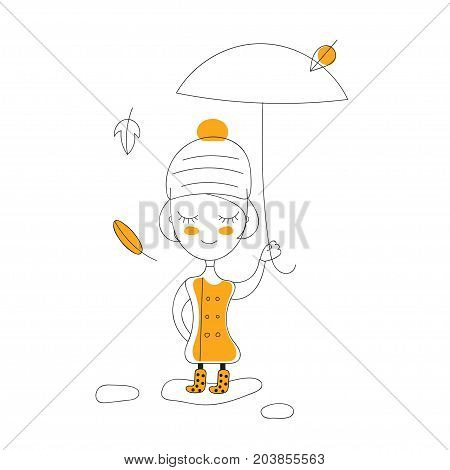 Little cute girl in rubber boots coat hat and umbrella walking through the puddles in the fall. Vector illustration