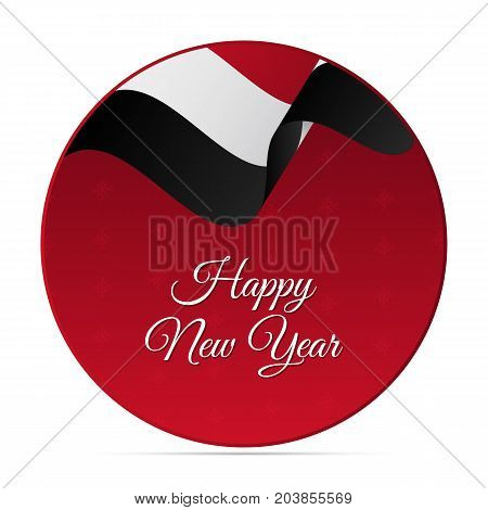 Happy New Year banner or sticker. Yemen waving flag. Snowflakes background. Vector illustration.