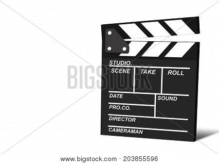 Movie clapper isolated on white background, cinema concept